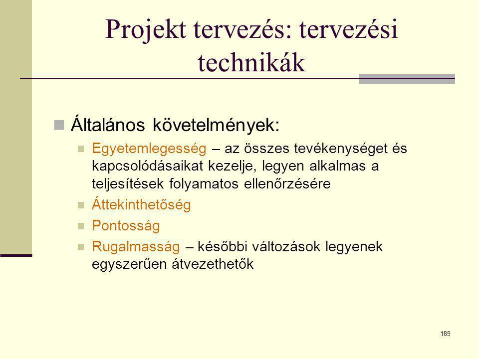 189 Projekt tervezés: tervezési technikák  Általános követelmények:  Egyetemlegesség – az összes tevékenységet és kapcsolódásaikat kezelje, legyen a
