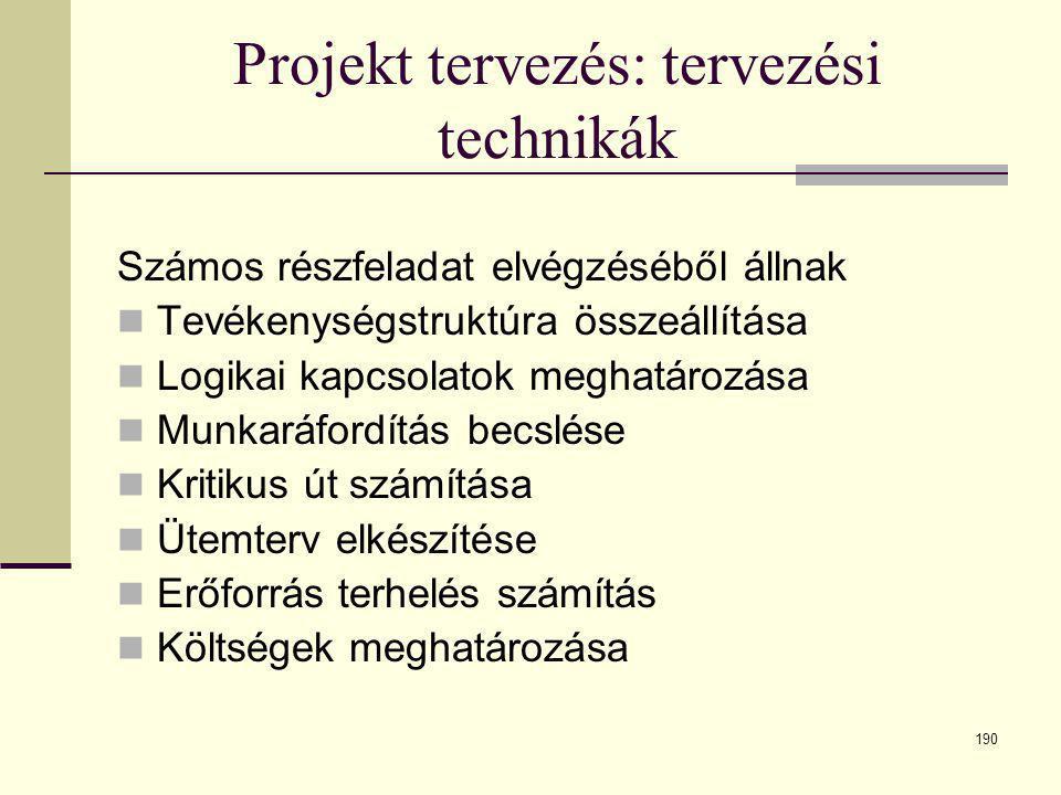 190 Projekt tervezés: tervezési technikák Számos részfeladat elvégzéséből állnak  Tevékenységstruktúra összeállítása  Logikai kapcsolatok meghatároz