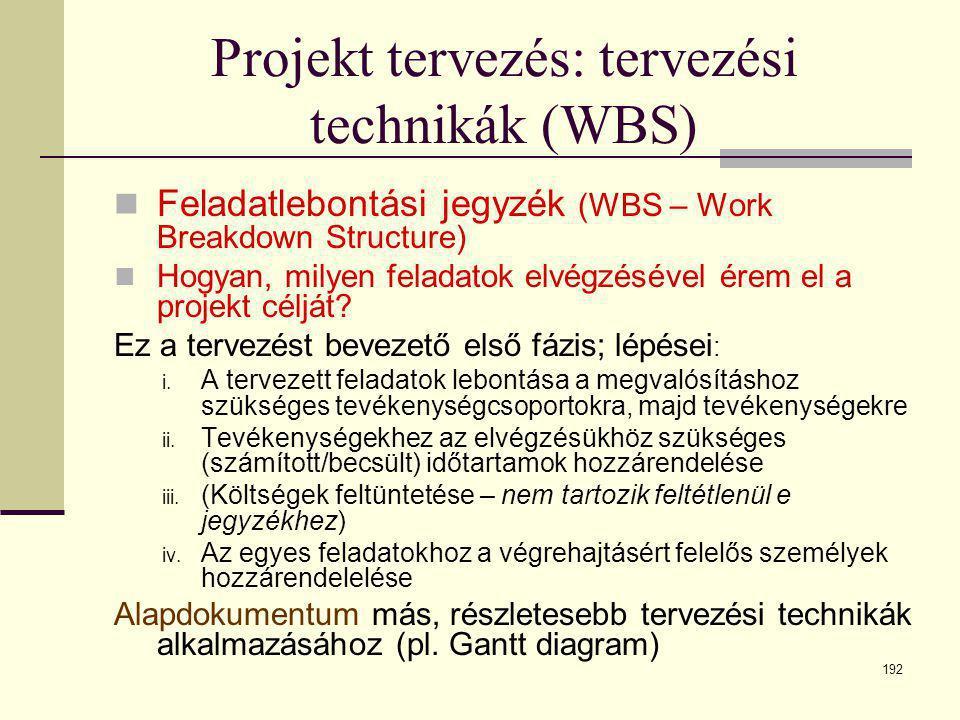 192 Projekt tervezés: tervezési technikák (WBS)  Feladatlebontási jegyzék (WBS – Work Breakdown Structure)  Hogyan, milyen feladatok elvégzésével ér