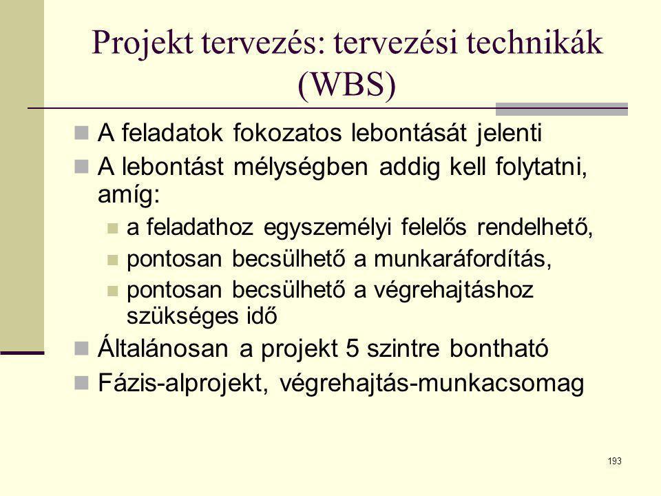 193 Projekt tervezés: tervezési technikák (WBS)  A feladatok fokozatos lebontását jelenti  A lebontást mélységben addig kell folytatni, amíg:  a fe