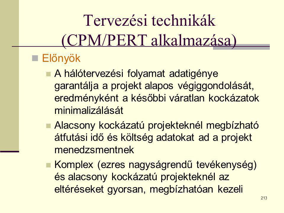 213 Tervezési technikák (CPM/PERT alkalmazása)  Előnyök  A hálótervezési folyamat adatigénye garantálja a projekt alapos végiggondolását, eredményké