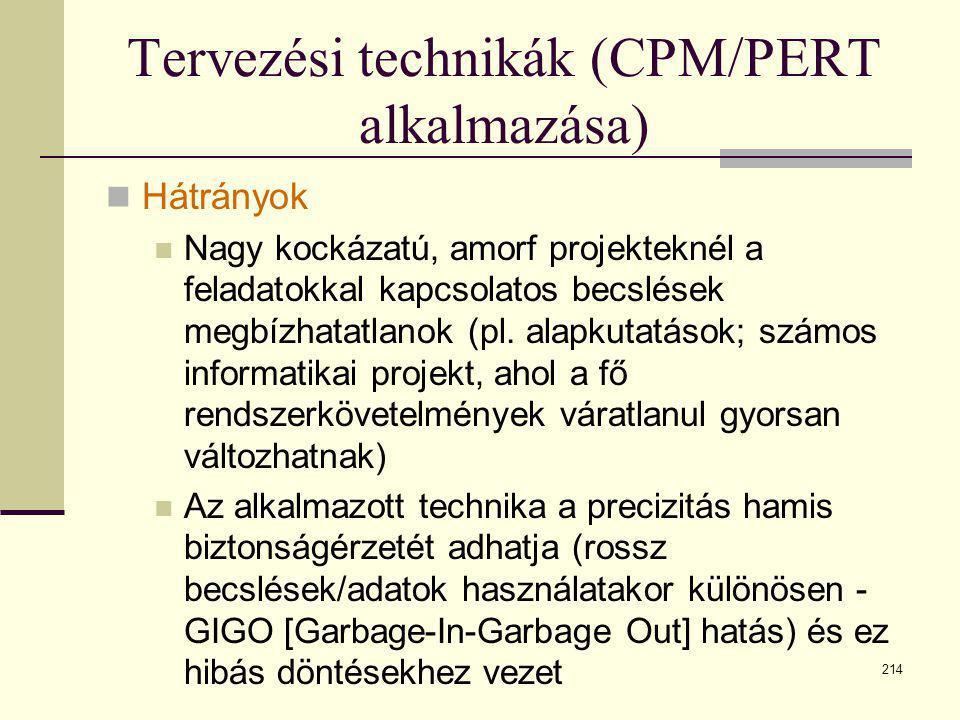 214 Tervezési technikák (CPM/PERT alkalmazása)  Hátrányok  Nagy kockázatú, amorf projekteknél a feladatokkal kapcsolatos becslések megbízhatatlanok