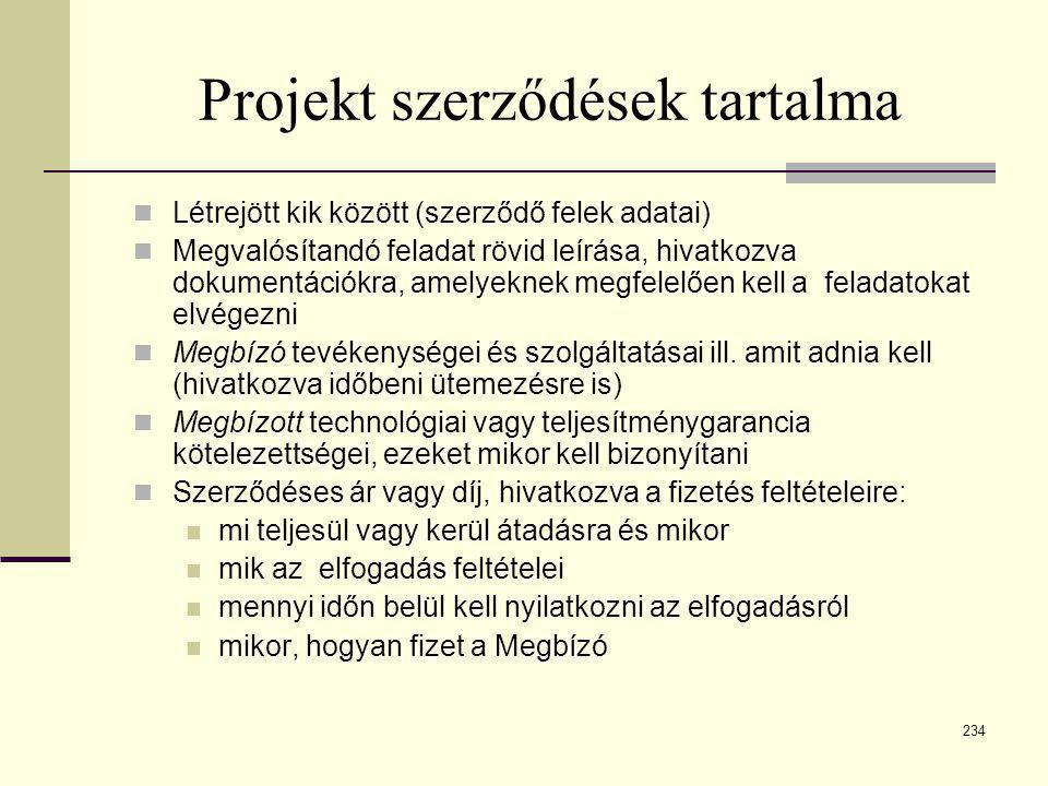 234 Projekt szerződések tartalma  Létrejött kik között (szerződő felek adatai)  Megvalósítandó feladat rövid leírása, hivatkozva dokumentációkra, am