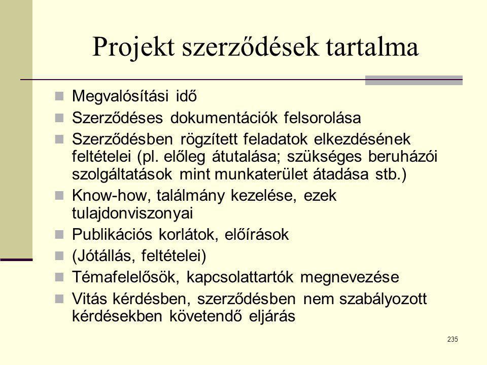 235 Projekt szerződések tartalma  Megvalósítási idő  Szerződéses dokumentációk felsorolása  Szerződésben rögzített feladatok elkezdésének feltétele