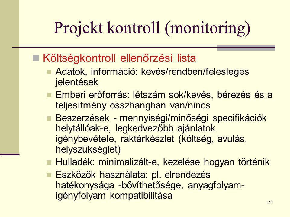 239 Projekt kontroll (monitoring)  Költségkontroll ellenőrzési lista  Adatok, információ: kevés/rendben/felesleges jelentések  Emberi erőforrás: lé