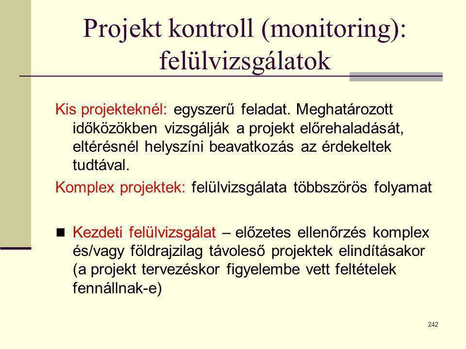 242 Projekt kontroll (monitoring): felülvizsgálatok Kis projekteknél: egyszerű feladat. Meghatározott időközökben vizsgálják a projekt előrehaladását,