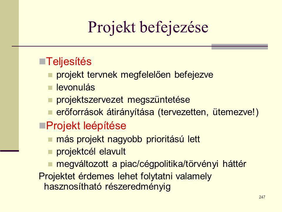 247 Projekt befejezése  Teljesítés  projekt tervnek megfelelően befejezve  levonulás  projektszervezet megszüntetése  erőforrások átirányítása (t