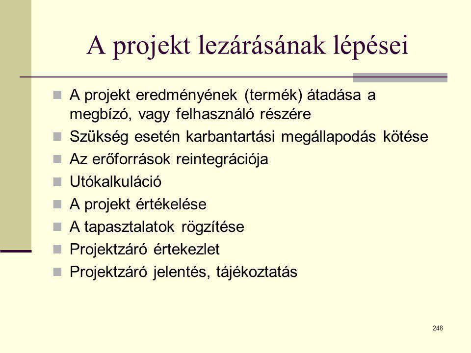 248 A projekt lezárásának lépései  A projekt eredményének (termék) átadása a megbízó, vagy felhasználó részére  Szükség esetén karbantartási megálla