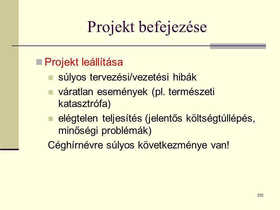 250 Projekt befejezése  Projekt leállítása  súlyos tervezési/vezetési hibák  váratlan események (pl. természeti katasztrófa)  elégtelen teljesítés