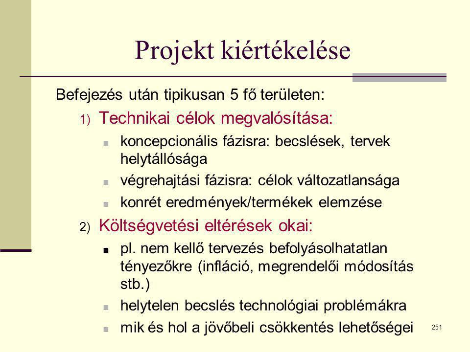 251 Projekt kiértékelése Befejezés után tipikusan 5 fő területen: 1) Technikai célok megvalósítása:  koncepcionális fázisra: becslések, tervek helytá