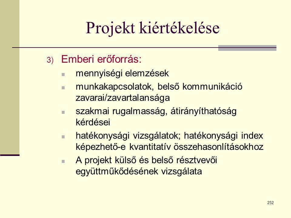 252 Projekt kiértékelése 3) Emberi erőforrás:  mennyiségi elemzések  munkakapcsolatok, belső kommunikáció zavarai/zavartalansága  szakmai rugalmass
