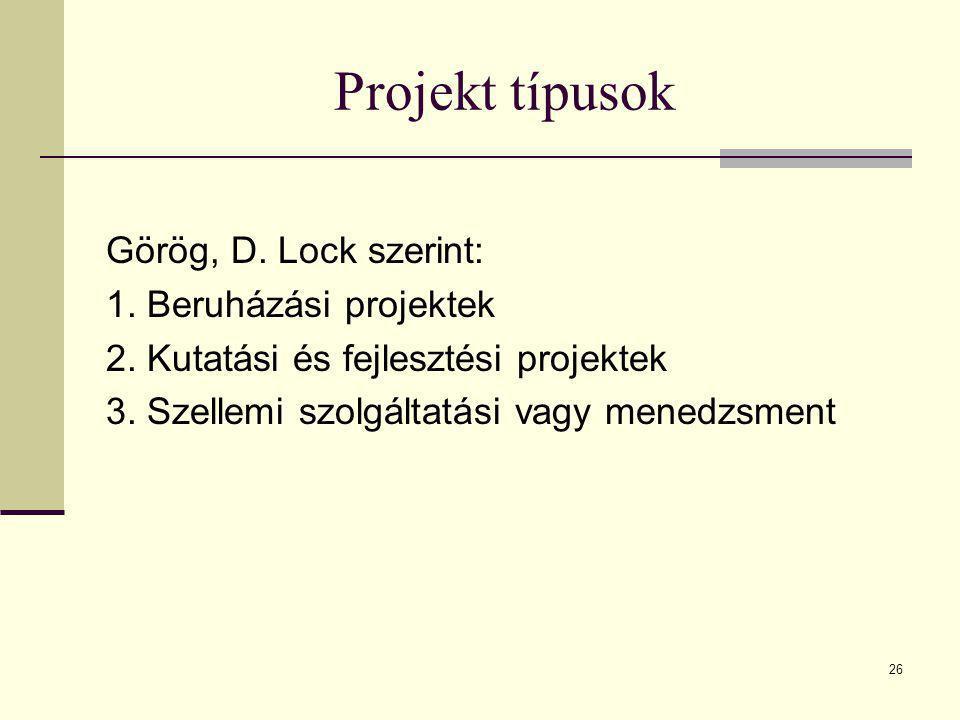 26 Projekt típusok Görög, D. Lock szerint: 1. Beruházási projektek 2. Kutatási és fejlesztési projektek 3. Szellemi szolgáltatási vagy menedzsment