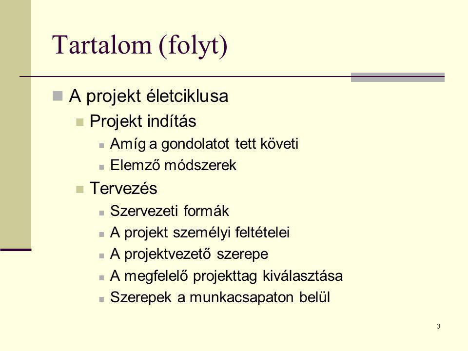 3 Tartalom (folyt)  A projekt életciklusa  Projekt indítás  Amíg a gondolatot tett követi  Elemző módszerek  Tervezés  Szervezeti formák  A pro