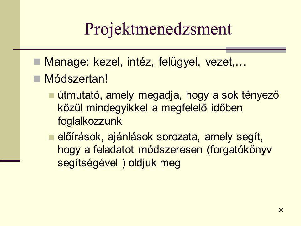 36 Projektmenedzsment  Manage: kezel, intéz, felügyel, vezet,…  Módszertan!  útmutató, amely megadja, hogy a sok tényező közül mindegyikkel a megfe