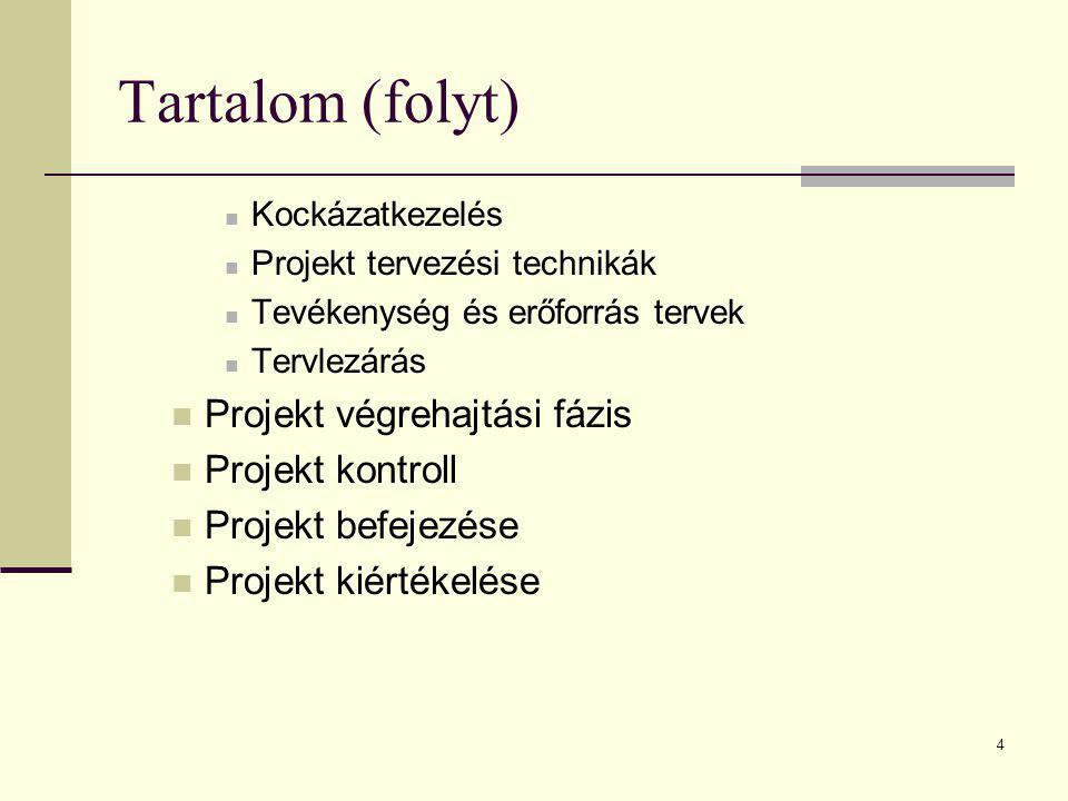 4 Tartalom (folyt)  Kockázatkezelés  Projekt tervezési technikák  Tevékenység és erőforrás tervek  Tervlezárás  Projekt végrehajtási fázis  Proj