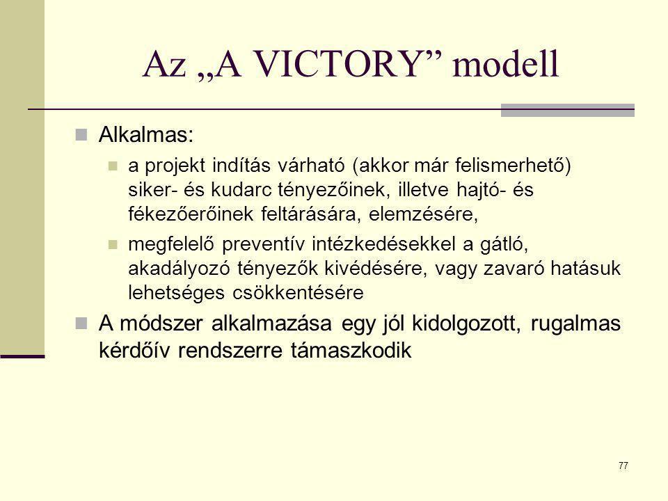 """77 Az """"A VICTORY"""" modell  Alkalmas:  a projekt indítás várható (akkor már felismerhető) siker- és kudarc tényezőinek, illetve hajtó- és fékezőerőine"""