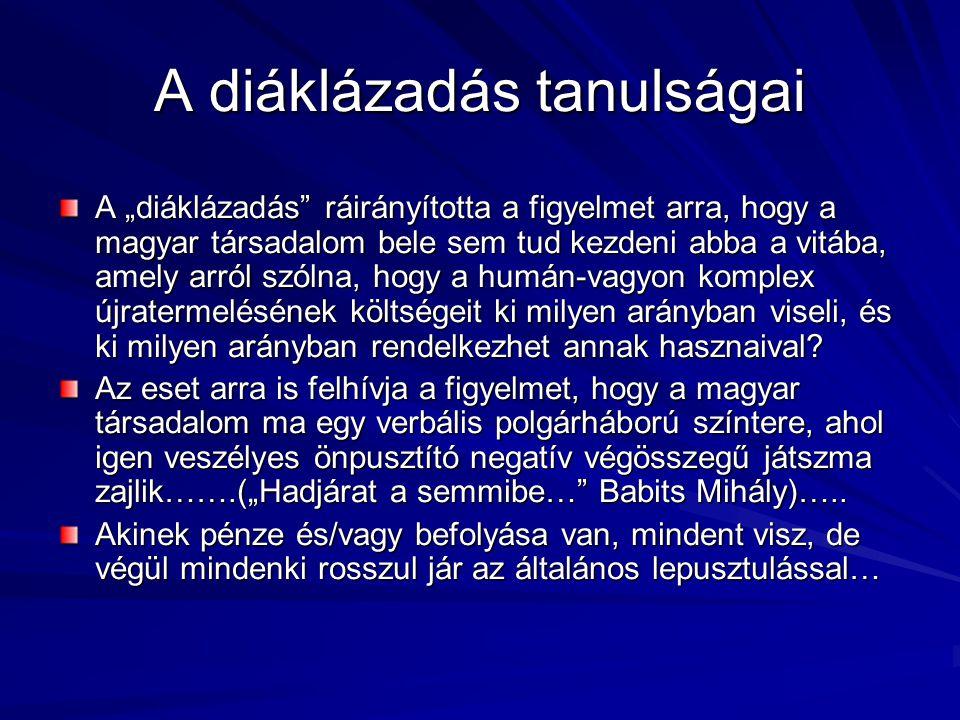 """A diáklázadás tanulságai A """"diáklázadás ráirányította a figyelmet arra, hogy a magyar társadalom bele sem tud kezdeni abba a vitába, amely arról szólna, hogy a humán-vagyon komplex újratermelésének költségeit ki milyen arányban viseli, és ki milyen arányban rendelkezhet annak hasznaival."""