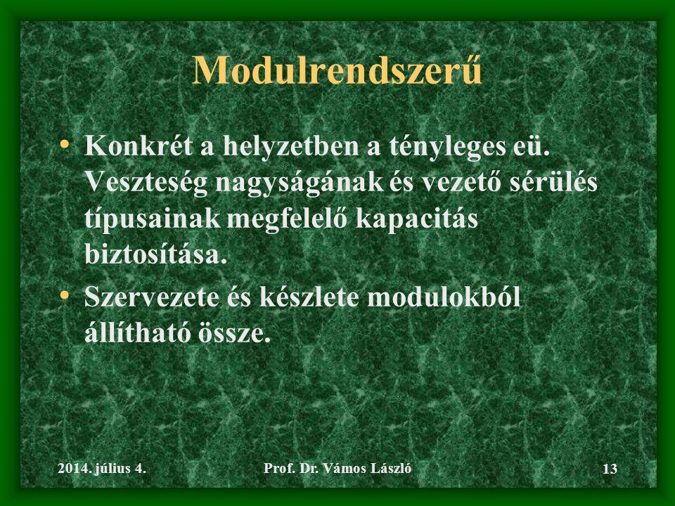 2014.július 4.Prof. Dr. Vámos László 13 Modulrendszerű • Konkrét a helyzetben a tényleges eü.