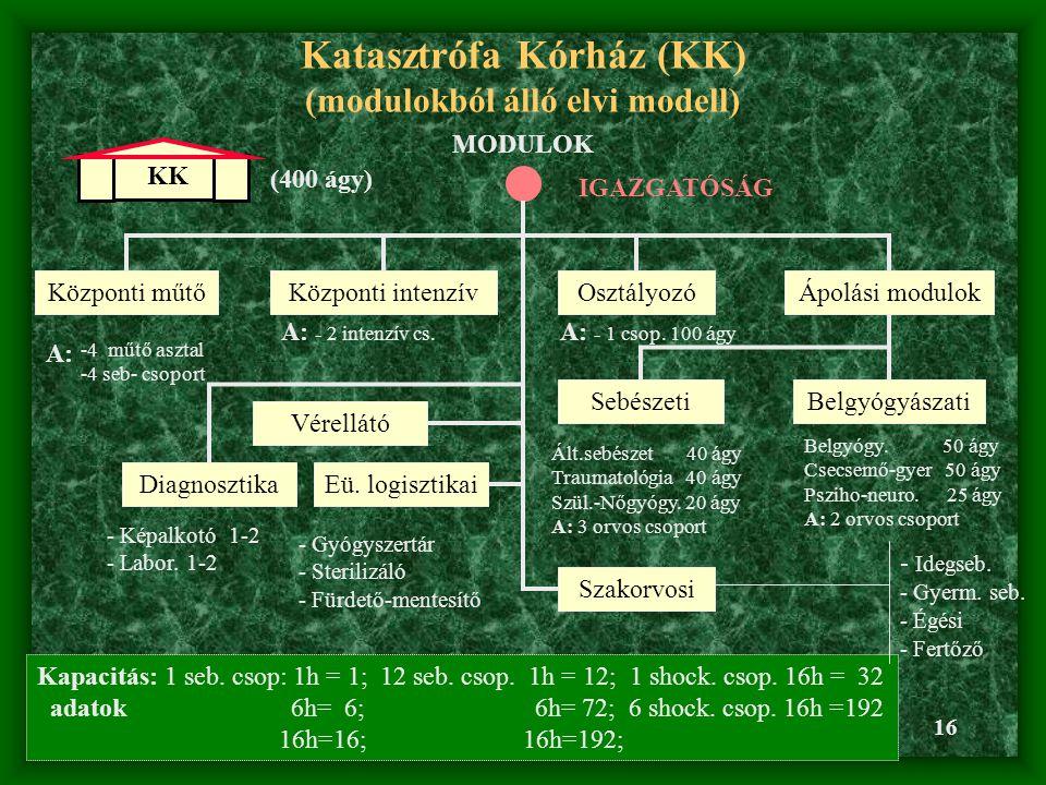 16 Katasztrófa Kórház (KK) (modulokból álló elvi modell) KK (400 ágy) MODULOK IGAZGATÓSÁG Vérellátó Központi műtő A: -4 műtő asztal -4 seb- csoport Ápolási modulokKözponti intenzív A: - 2 intenzív cs.