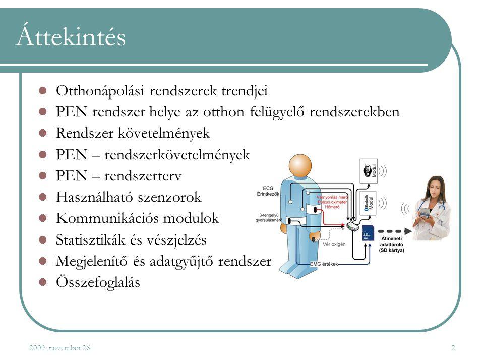 2009. november 26.2 Áttekintés  Otthonápolási rendszerek trendjei  PEN rendszer helye az otthon felügyelő rendszerekben  Rendszer követelmények  P