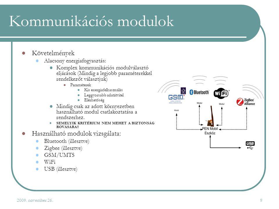 2009. november 26.9 Kommunikációs modulok ●Követelmények ●Alacsony energiafogyasztás: ●Komplex kommunikációs modulválasztó eljárások (Mindig a legjobb