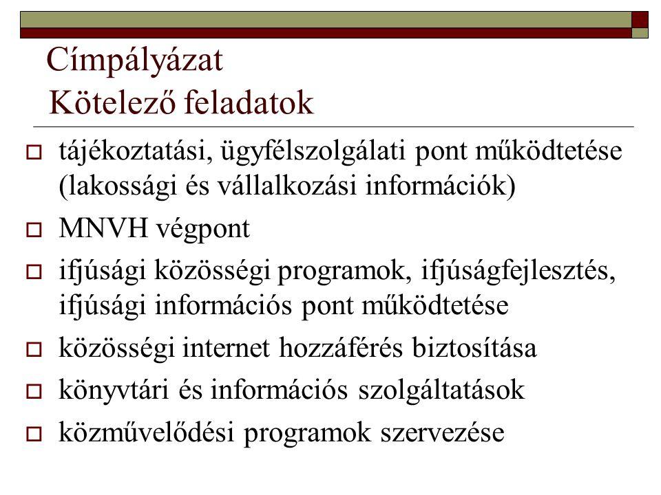 Címpályázat Kötelező feladatok  tájékoztatási, ügyfélszolgálati pont működtetése (lakossági és vállalkozási információk)  MNVH végpont  ifjúsági kö
