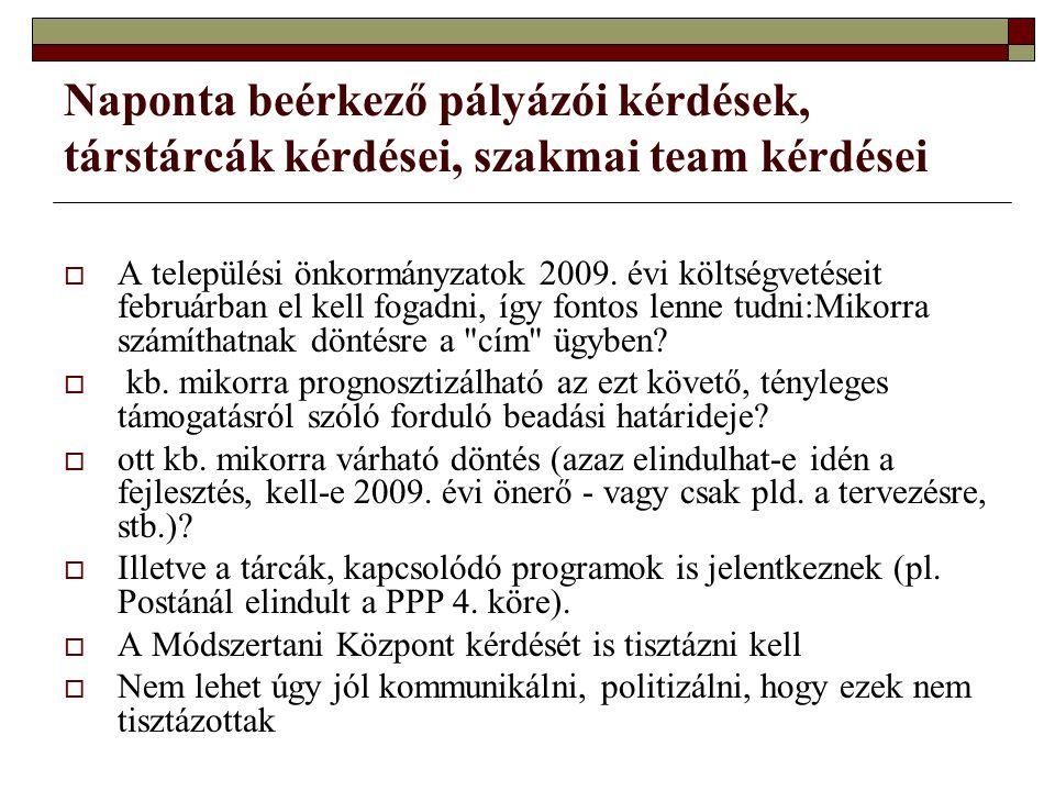 Naponta beérkező pályázói kérdések, társtárcák kérdései, szakmai team kérdései  A települési önkormányzatok 2009. évi költségvetéseit februárban el k