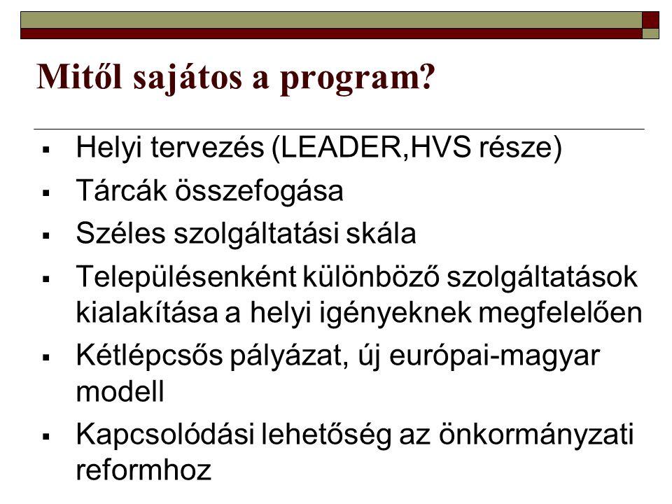 Mitől sajátos a program?  Helyi tervezés (LEADER,HVS része)  Tárcák összefogása  Széles szolgáltatási skála  Településenként különböző szolgáltatá