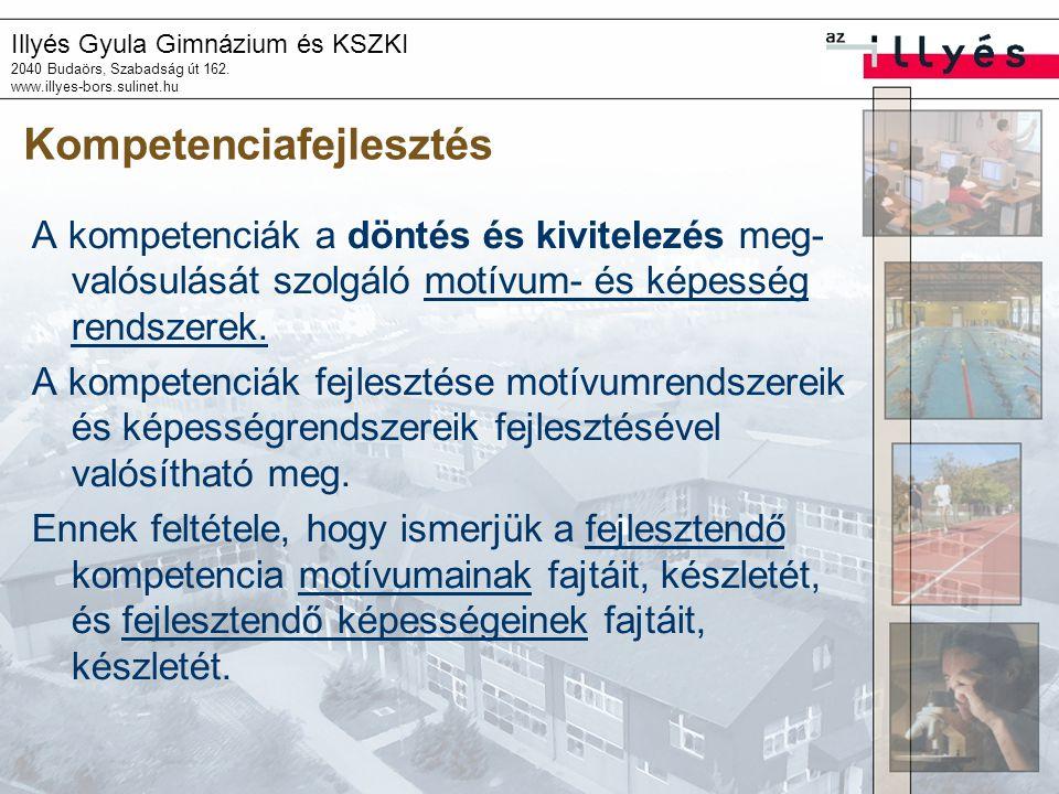 Illyés Gyula Gimnázium és KSZKI 2040 Budaörs, Szabadság út 162. www.illyes-bors.sulinet.hu Kompetenciafejlesztés A kompetenciák a döntés és kivitelezé