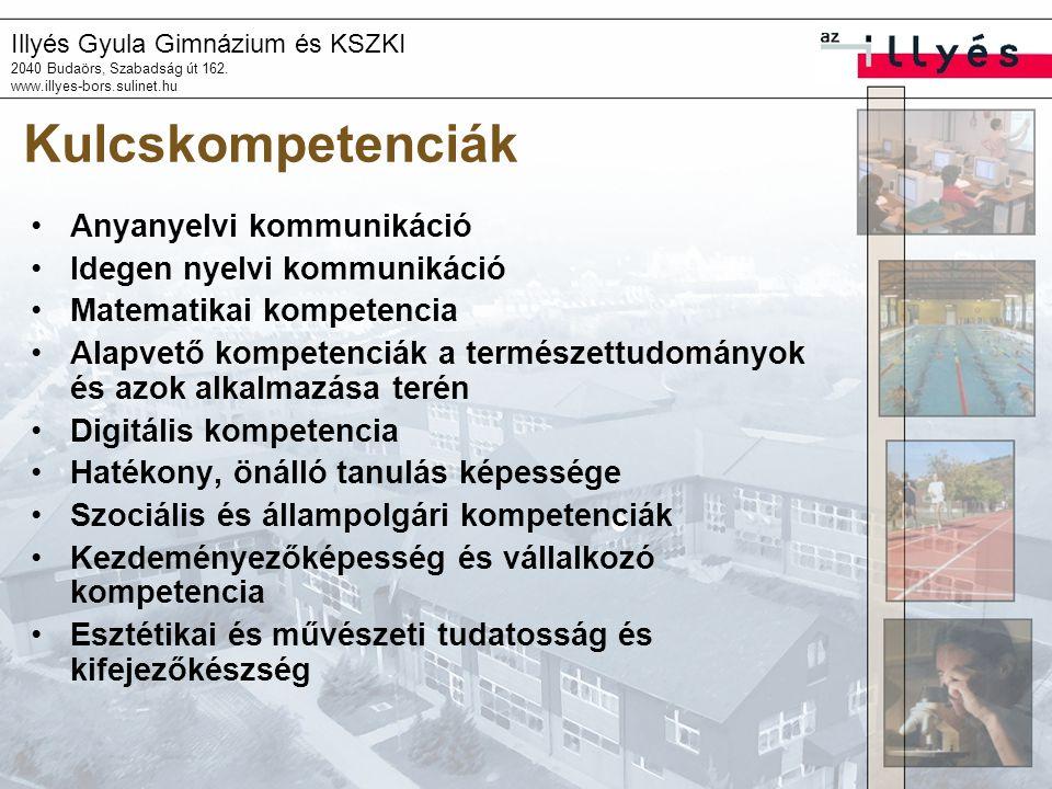 Illyés Gyula Gimnázium és KSZKI 2040 Budaörs, Szabadság út 162. www.illyes-bors.sulinet.hu Kulcskompetenciák •Anyanyelvi kommunikáció •Idegen nyelvi k