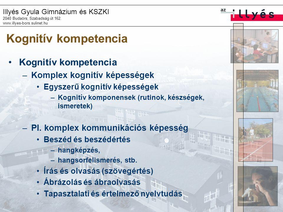 Illyés Gyula Gimnázium és KSZKI 2040 Budaörs, Szabadság út 162. www.illyes-bors.sulinet.hu Kognitív kompetencia •Kognitív kompetencia –Komplex kognití