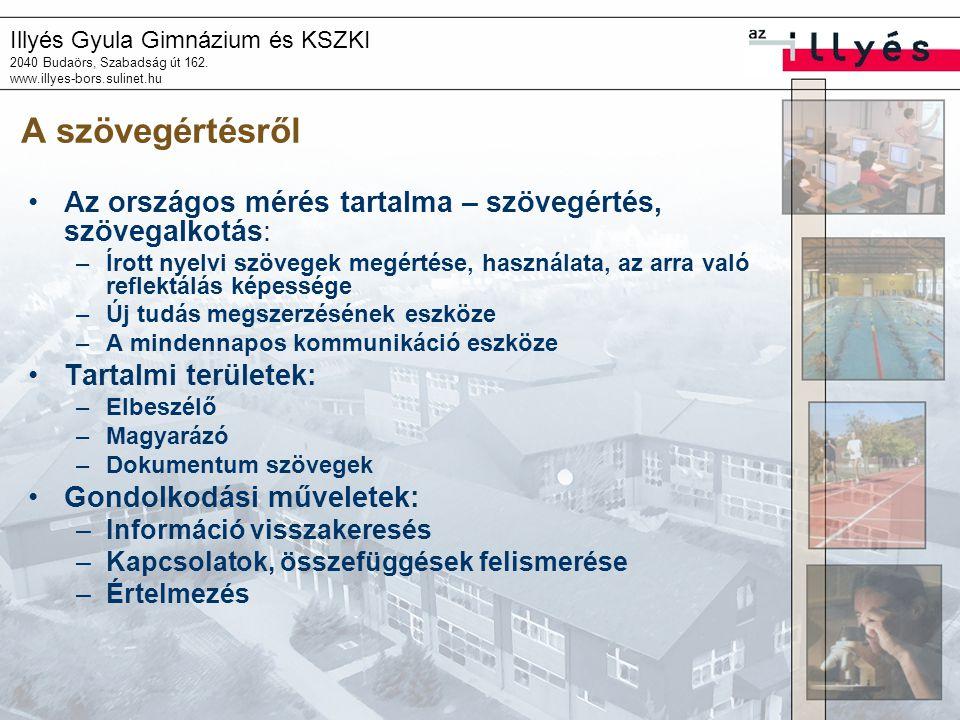 Illyés Gyula Gimnázium és KSZKI 2040 Budaörs, Szabadság út 162. www.illyes-bors.sulinet.hu A szövegértésről •Az országos mérés tartalma – szövegértés,