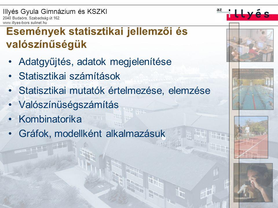 Illyés Gyula Gimnázium és KSZKI 2040 Budaörs, Szabadság út 162. www.illyes-bors.sulinet.hu Események statisztikai jellemzői és valószínűségük •Adatgyű