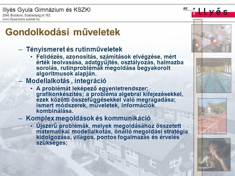 Illyés Gyula Gimnázium és KSZKI 2040 Budaörs, Szabadság út 162. www.illyes-bors.sulinet.hu Gondolkodási műveletek –Tényismeret és rutinműveletek •Feli