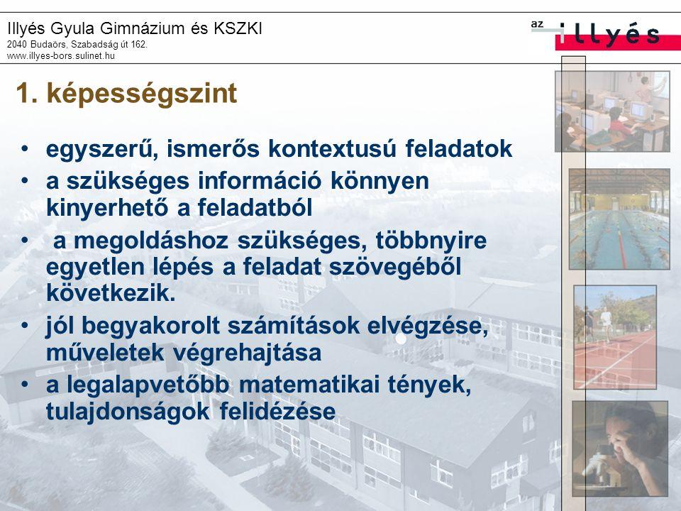 Illyés Gyula Gimnázium és KSZKI 2040 Budaörs, Szabadság út 162. www.illyes-bors.sulinet.hu 1. képességszint •egyszerű, ismerős kontextusú feladatok •a