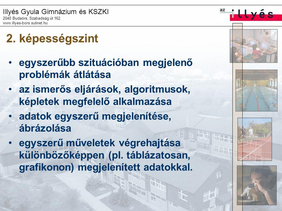 Illyés Gyula Gimnázium és KSZKI 2040 Budaörs, Szabadság út 162. www.illyes-bors.sulinet.hu 2. képességszint •egyszerűbb szituációban megjelenő problém