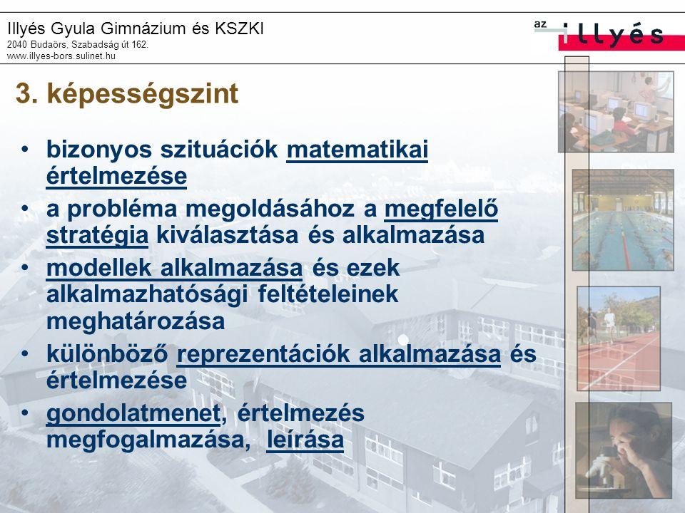 Illyés Gyula Gimnázium és KSZKI 2040 Budaörs, Szabadság út 162. www.illyes-bors.sulinet.hu 3. képességszint •bizonyos szituációk matematikai értelmezé