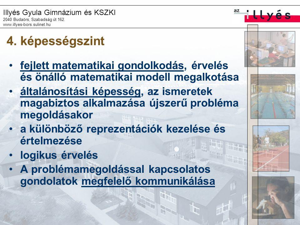 Illyés Gyula Gimnázium és KSZKI 2040 Budaörs, Szabadság út 162. www.illyes-bors.sulinet.hu 4. képességszint •fejlett matematikai gondolkodás, érvelés