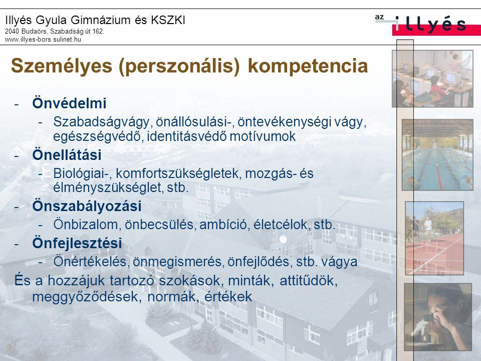 Illyés Gyula Gimnázium és KSZKI 2040 Budaörs, Szabadság út 162. www.illyes-bors.sulinet.hu Személyes (perszonális) kompetencia -Önvédelmi -Szabadságvá