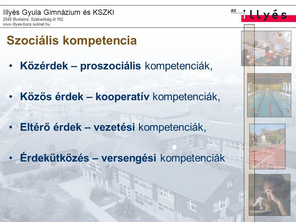 Illyés Gyula Gimnázium és KSZKI 2040 Budaörs, Szabadság út 162. www.illyes-bors.sulinet.hu Szociális kompetencia •Közérdek – proszociális kompetenciák