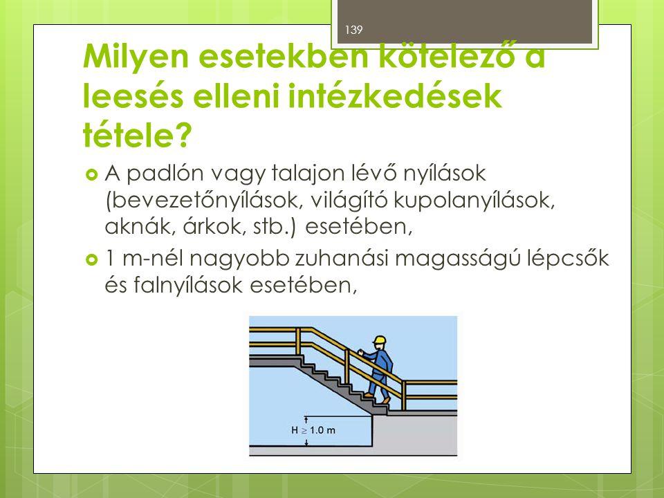  A padlón vagy talajon lévő nyílások (bevezetőnyílások, világító kupolanyílások, aknák, árkok, stb.) esetében,  1 m-nél nagyobb zuhanási magasságú lépcsők és falnyílások esetében, Milyen esetekben kötelező a leesés elleni intézkedések tétele.