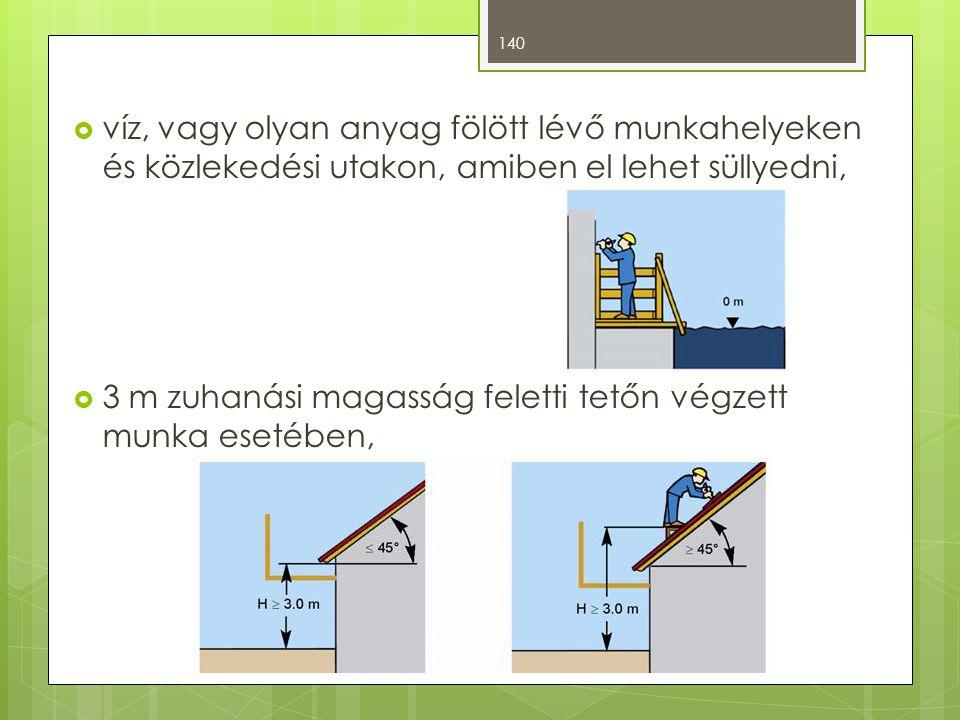  víz, vagy olyan anyag fölött lévő munkahelyeken és közlekedési utakon, amiben el lehet süllyedni,  3 m zuhanási magasság feletti tetőn végzett munka esetében, 140
