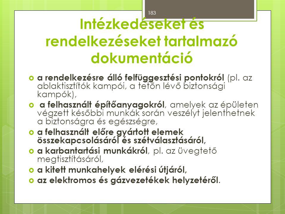 Intézkedéseket és rendelkezéseket tartalmazó dokumentáció  a rendelkezésre álló felfüggesztési pontokról (pl.