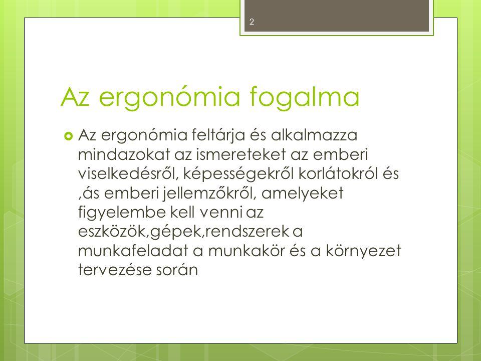 Az ergonómia fogalma  Az ergonómia feltárja és alkalmazza mindazokat az ismereteket az emberi viselkedésről, képességekről korlátokról és,ás emberi j