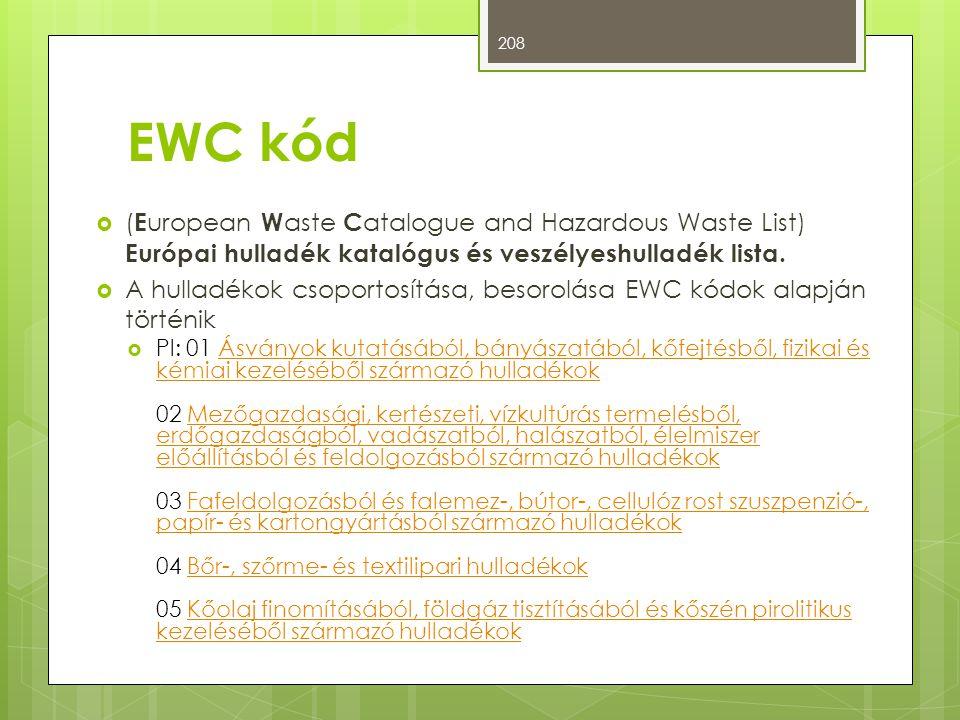 EWC kód  ( E uropean W aste C atalogue and Hazardous Waste List) Európai hulladék katalógus és veszélyeshulladék lista.  A hulladékok csoportosítása