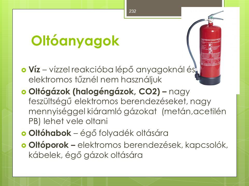 Oltóanyagok  Víz – vízzel reakcióba lépő anyagoknál és elektromos tűznél nem használjuk  Oltógázok (halogéngázok, CO2) – nagy feszültségű elektromos