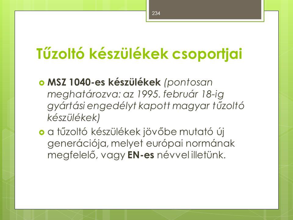 Tűzoltó készülékek csoportjai  MSZ 1040-es készülékek (pontosan meghatározva: az 1995. február 18-ig gyártási engedélyt kapott magyar tűzoltó készülé