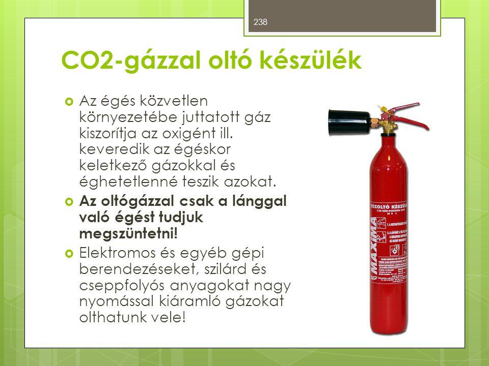 CO2-gázzal oltó készülék  Az égés közvetlen környezetébe juttatott gáz kiszorítja az oxigént ill. keveredik az égéskor keletkező gázokkal és éghetetl
