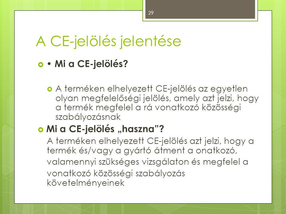 A CE-jelölés jelentése  • Mi a CE-jelölés?  A terméken elhelyezett CE-jelölés az egyetlen olyan megfelelőségi jelölés, amely azt jelzi, hogy a termé