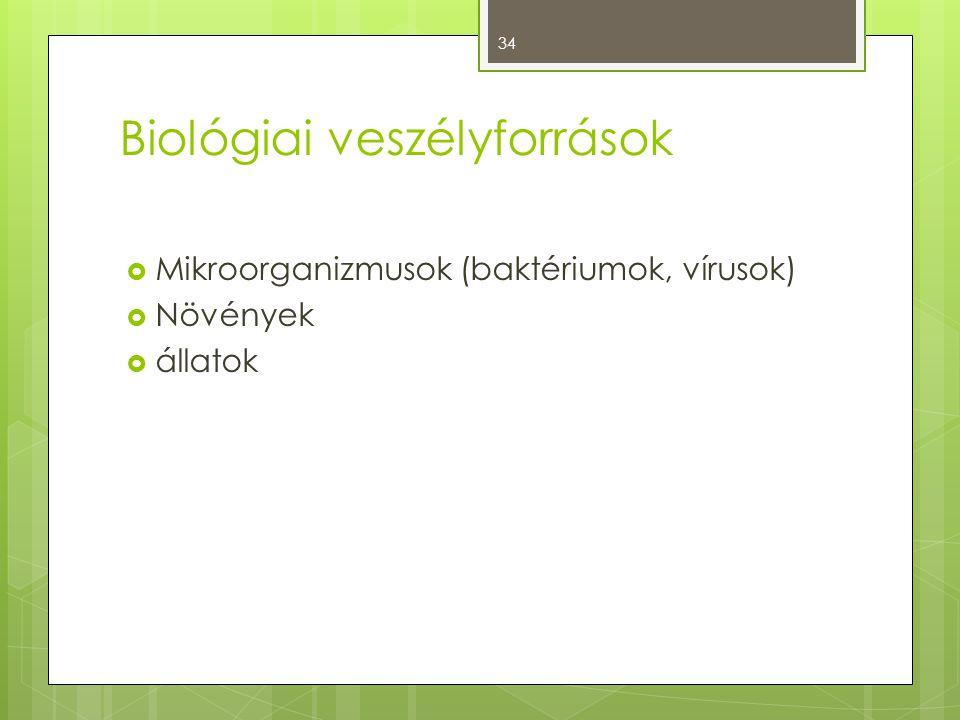Biológiai veszélyforrások  Mikroorganizmusok (baktériumok, vírusok)  Növények  állatok 34